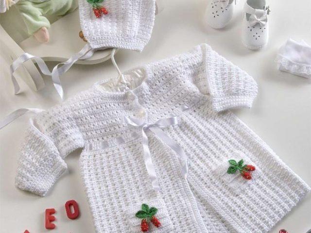 вязание крючком для новорожденных конверта платья кофты чепчика