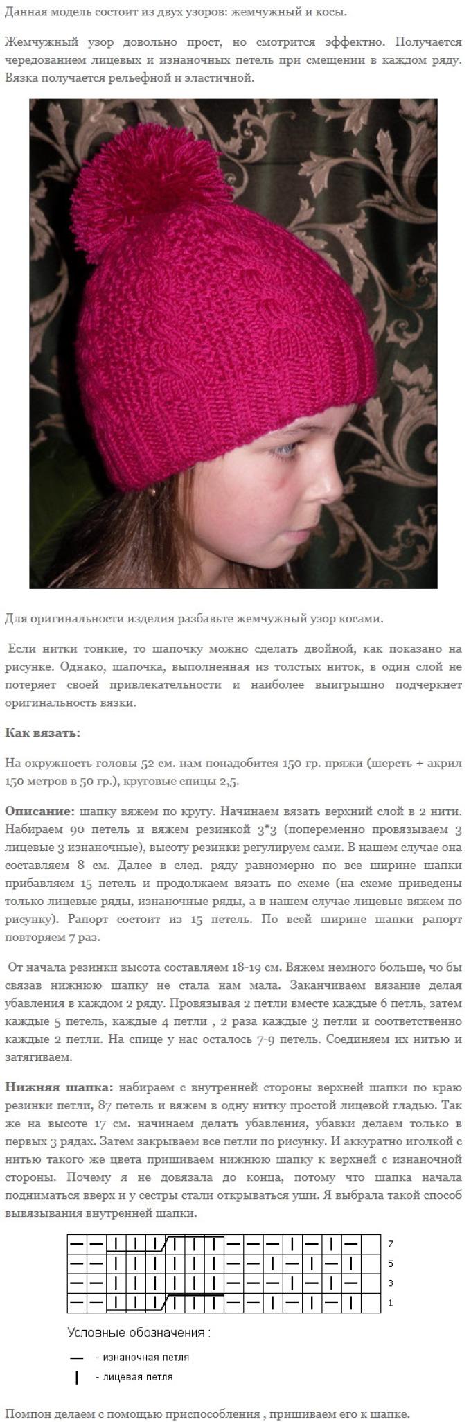 modnaya-vyazanaya-spicami-shapka-dlya-devochki-primer-3 Шапочка для новорожденного спицами, 25 моделей с описанием и видео уроками, Вязание для детей