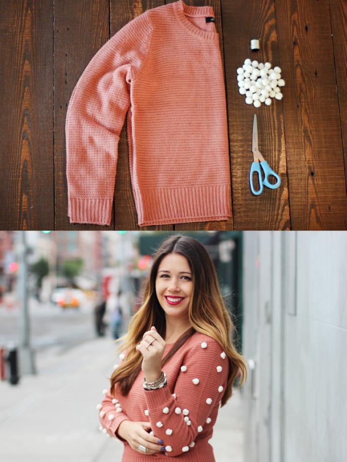 Простая переделка свитера в модный