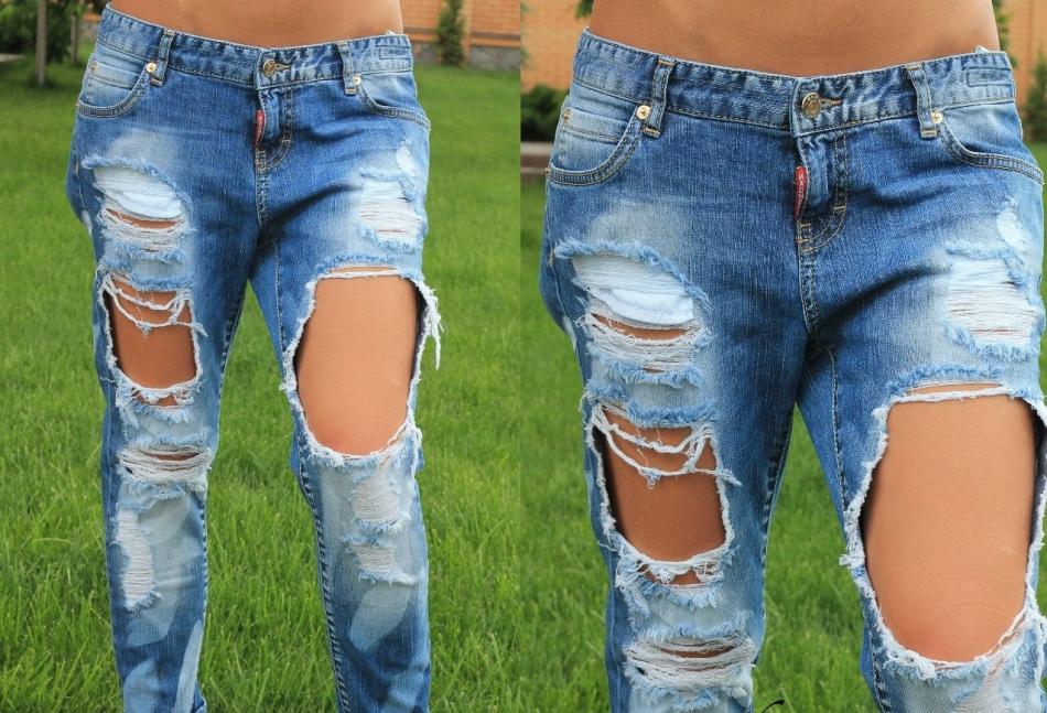modnie-dirki-na-dzhinsah Как сделать красивые дырки и эффект потертости на джинсах своими руками: фото и видео уроки как можно красиво порвать джинсы в домашних условиях поэтапно и из обычных джинс сделать модные рваные
