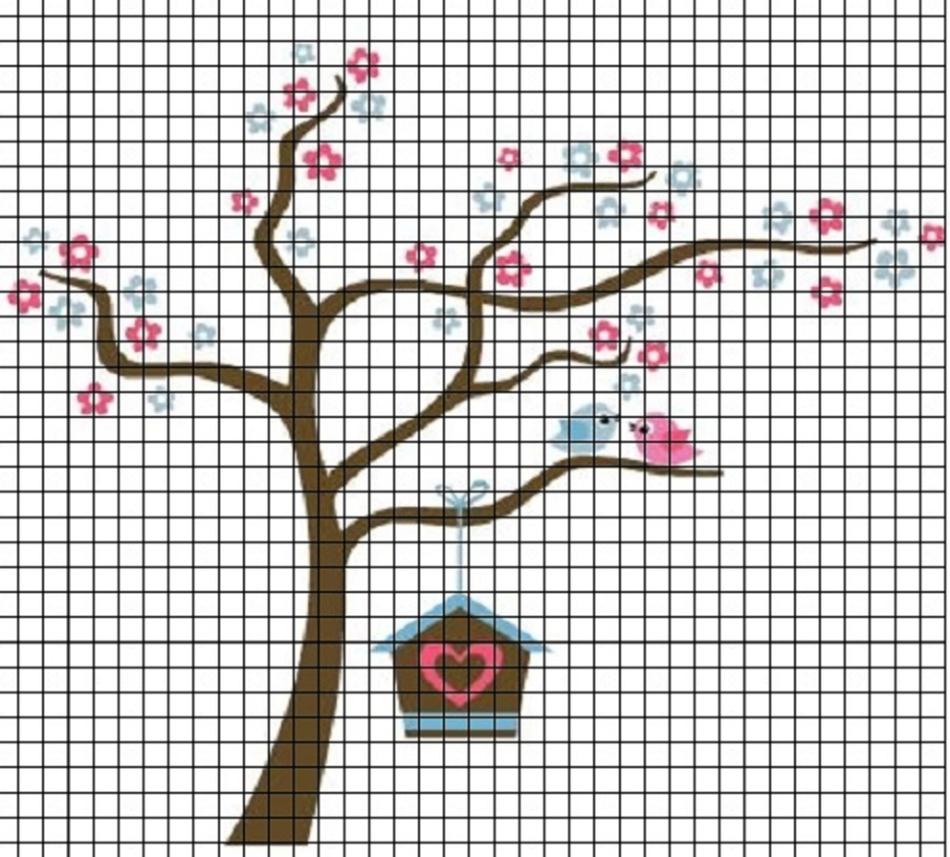 derevo-dlya-srisovki-po-kletochkam Красивые и легкие рисунки для срисовки карандашом поэтапно для начинающих. Красивые и легкие рисунки по клеточкам для срисовки в тетради и личном дневнике для девочек и мальчиков