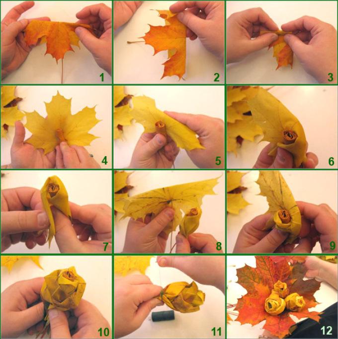 250872dc2f5417be1a16d8d8a0ec6ff4 Цветы и розы из кленовых листьев своими руками пошагово. Осенние поделки из кленовых листьев – букеты с розами и цветами: мастер класс