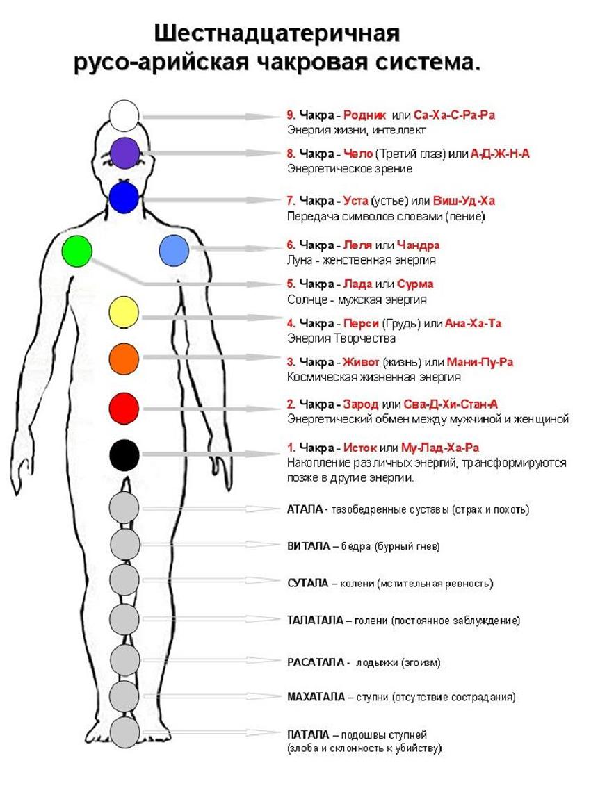 Расположение и названия чакр человека в разных школах, пример 1