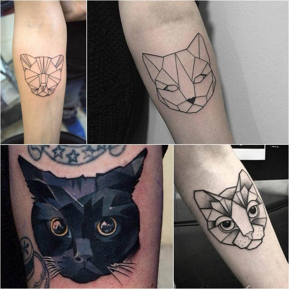 Татуировка - кошка. геометрия