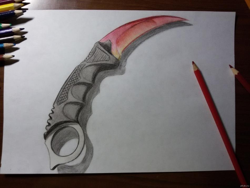 помощью них рисунки ножей из кс го карандашом поэтапно там был