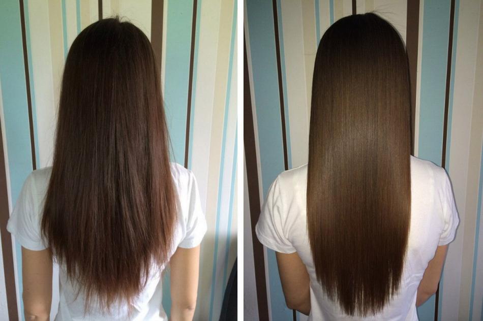 Волосы до и после бальзама для волос