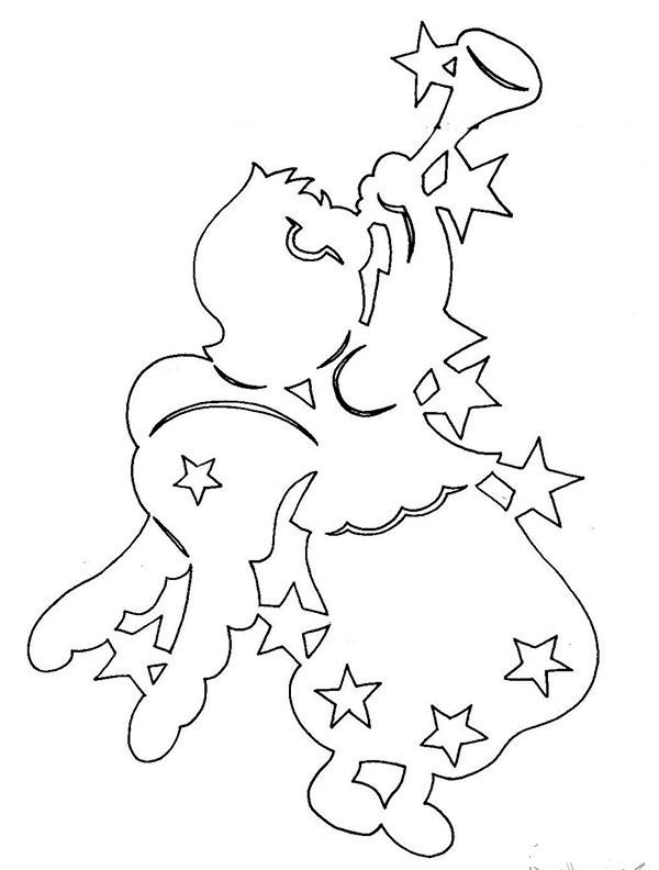 Новогодний ангелочек - шаблон для вырезания из бумаги, пример 1
