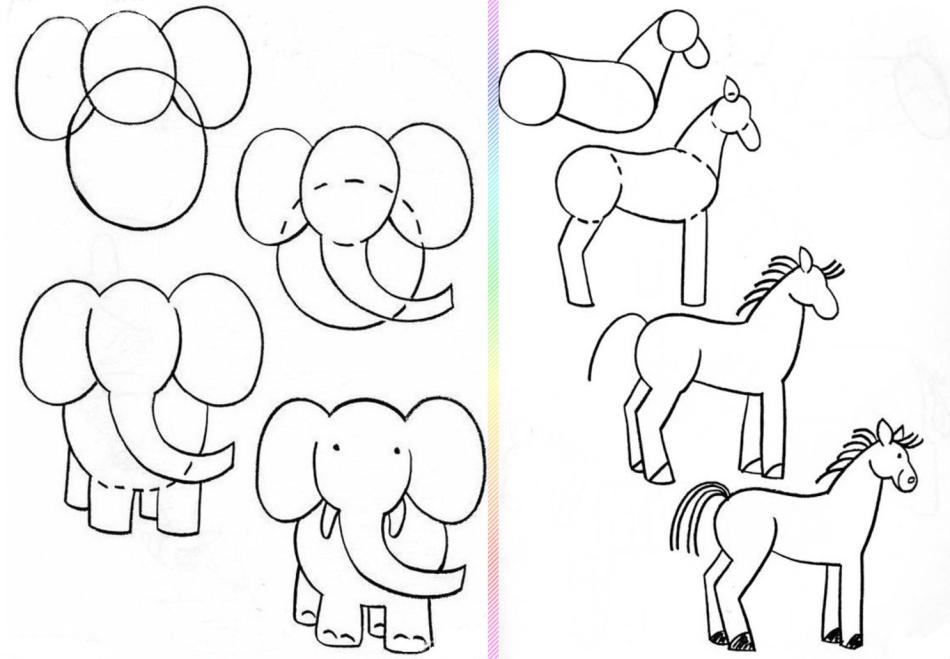 slon-i-loshad-risunok-poyetapno Красивые и легкие рисунки для срисовки карандашом поэтапно для начинающих. Красивые и легкие рисунки по клеточкам для срисовки в тетради и личном дневнике для девочек и мальчиков