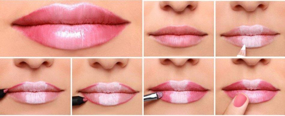 Губы, увеличенные с помощью макияжа