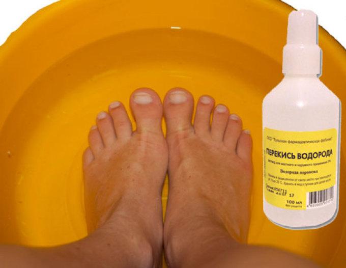 Перекись водорода в ванночке для ног