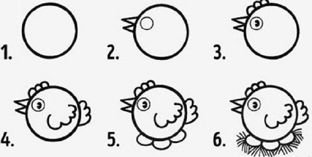 kurica-poyetapno-dlya-nachinayushih Красивые и легкие рисунки для срисовки карандашом поэтапно для начинающих. Красивые и легкие рисунки по клеточкам для срисовки в тетради и личном дневнике для девочек и мальчиков