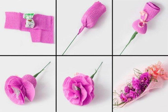 Маленькие цветы из гофрированной бумаги своими руками фото 220