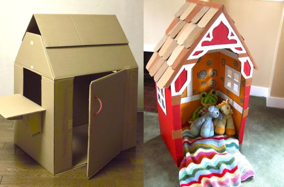 krisha-i-steni-domika-ukrasheni-cvetnoi-bumagoi Домик и мебель для кукол своими руками из картона: схема, выкройка, фото. Как сделать кровать, диван, шкаф, стол, стулья, кресло, кухню, холодильник, плиту, коляску для кукол из картона своими руками