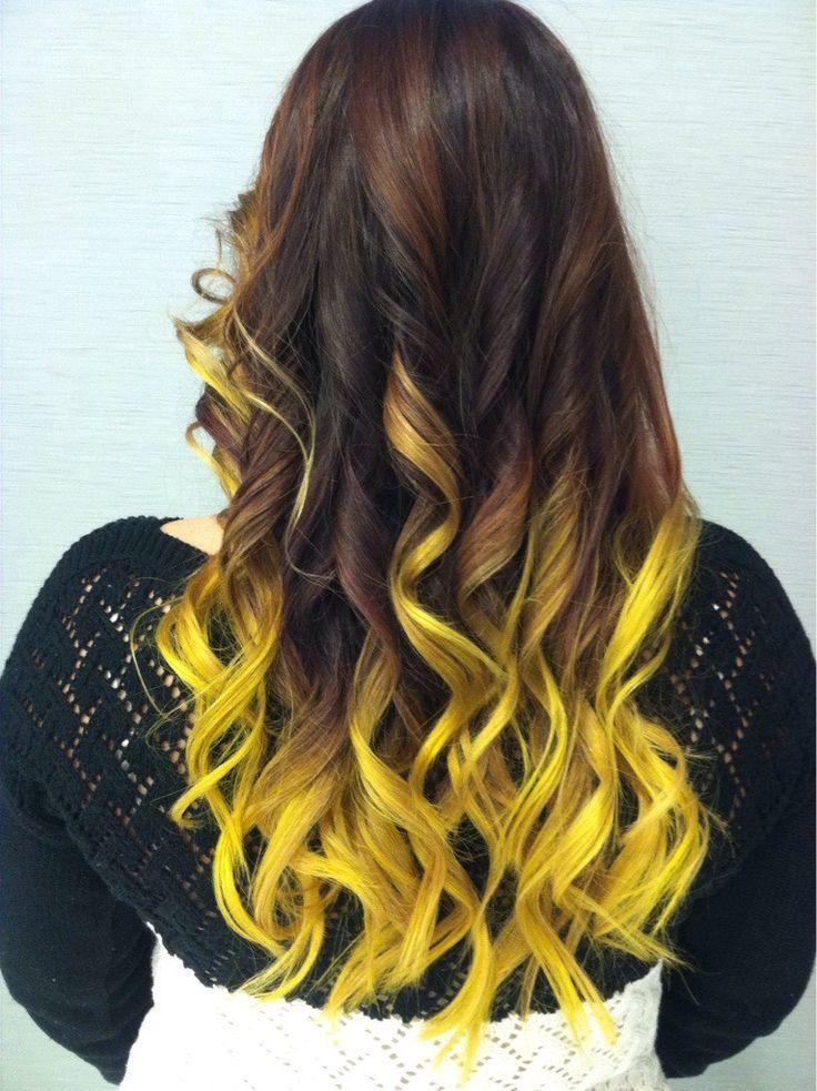 Желтое омбре на русые волосы