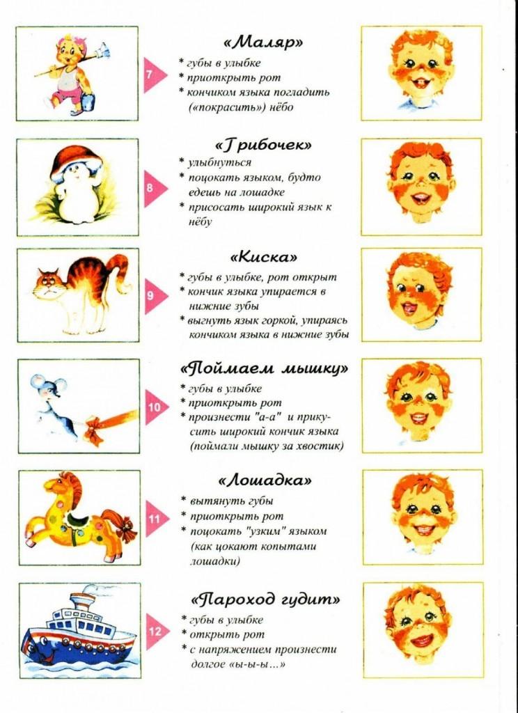 Логопедическая гимнастика в картинках для развития речи