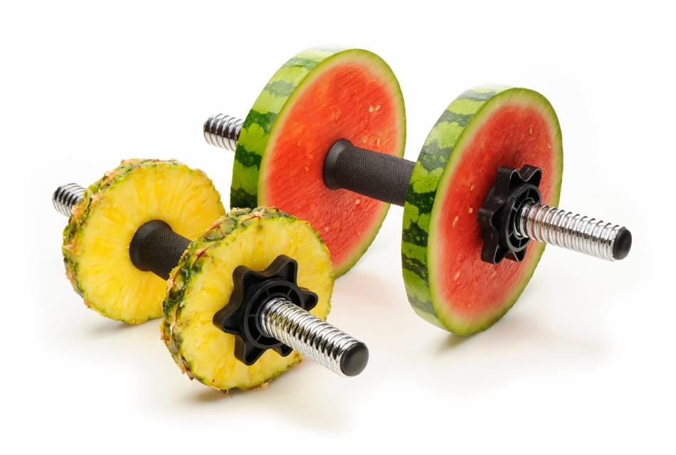 Гантели для тренировок с кольцами из арбуза и ананаса