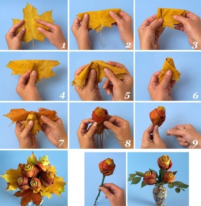 300e0666fbd21f349d9c4f074642f955 Букет из осенних листьев и рябины своими руками. Мастер-класс с пошаговыми фото