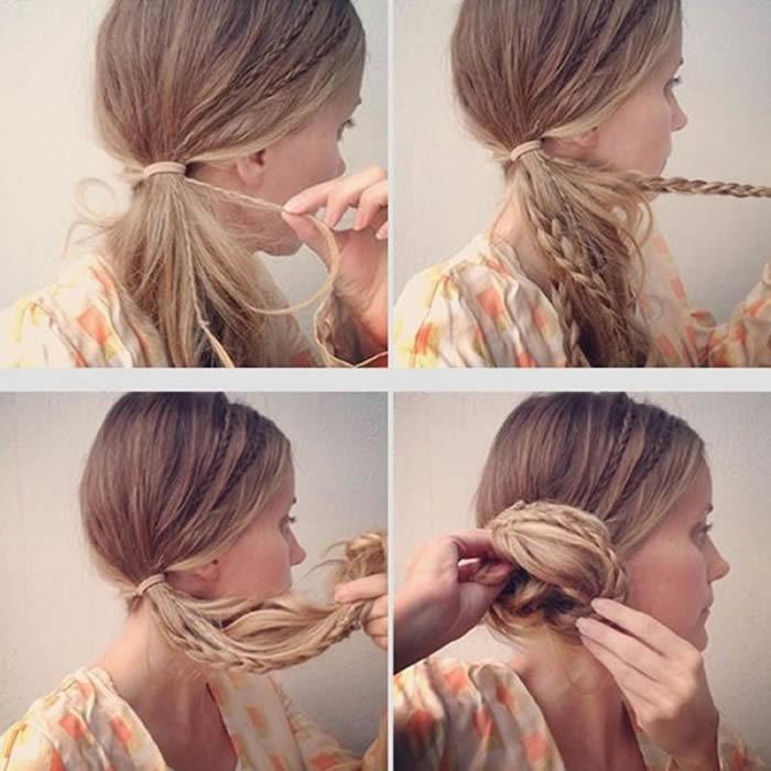 Создание бокового пучка из длинных волос с плетением косичек