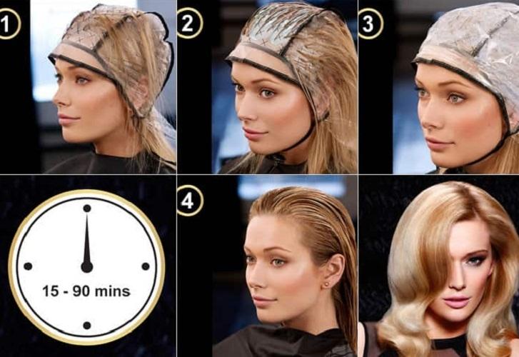 Как осветлять волосы через шапочку