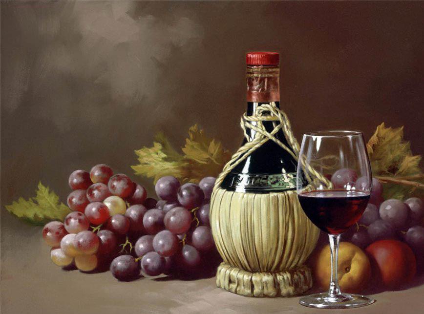 Гроздья винограда, бутылочка и бокал домашнего вина