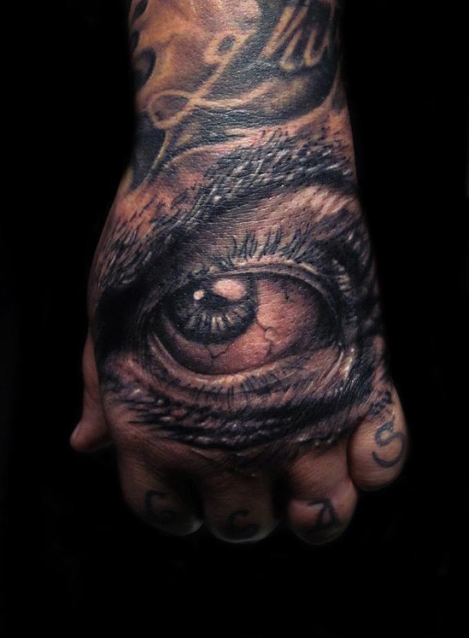 Татуировка на кисти в виде глаза