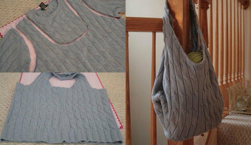 Модная вязанная сумка из старого свитера