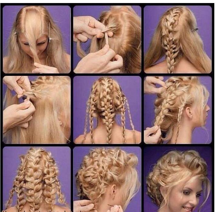 Как плести красивые причёски на средние волосы