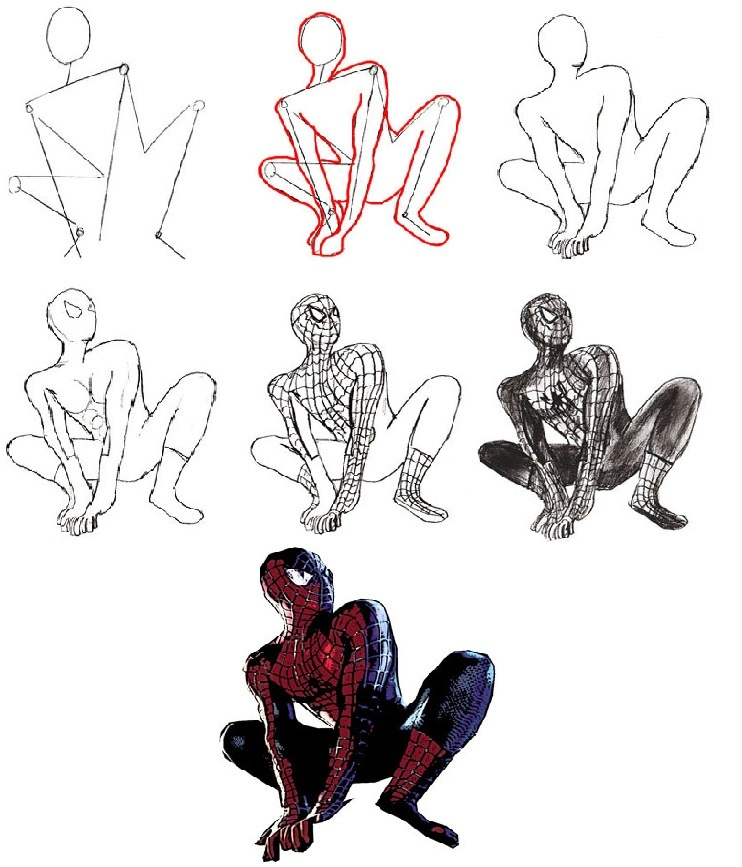Картинки, как нарисовать картинку человека паука