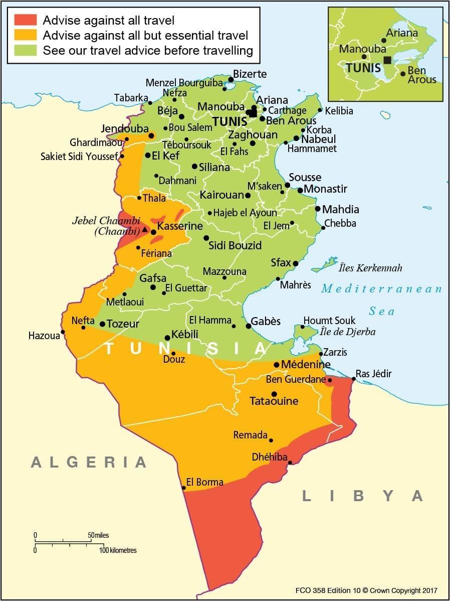Карта безопасности туниса