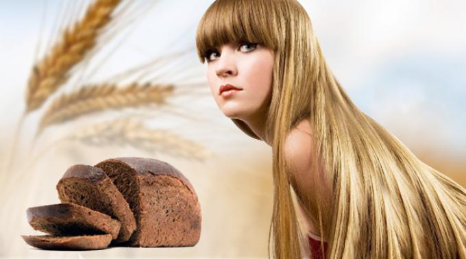 Черный хлеб полезен для волос.