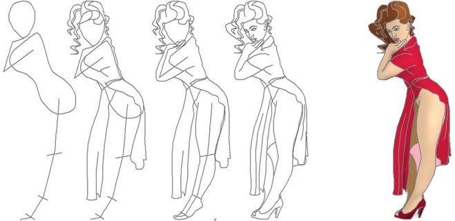 zhenshina-v-odezhde-bokom-poyetapnii-risunok Как рисовать ноги человека? Подробно рассмотрим строение и технику рисования