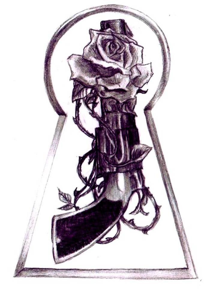 Эскиз татуировки на плечо в виде пистолета с розой