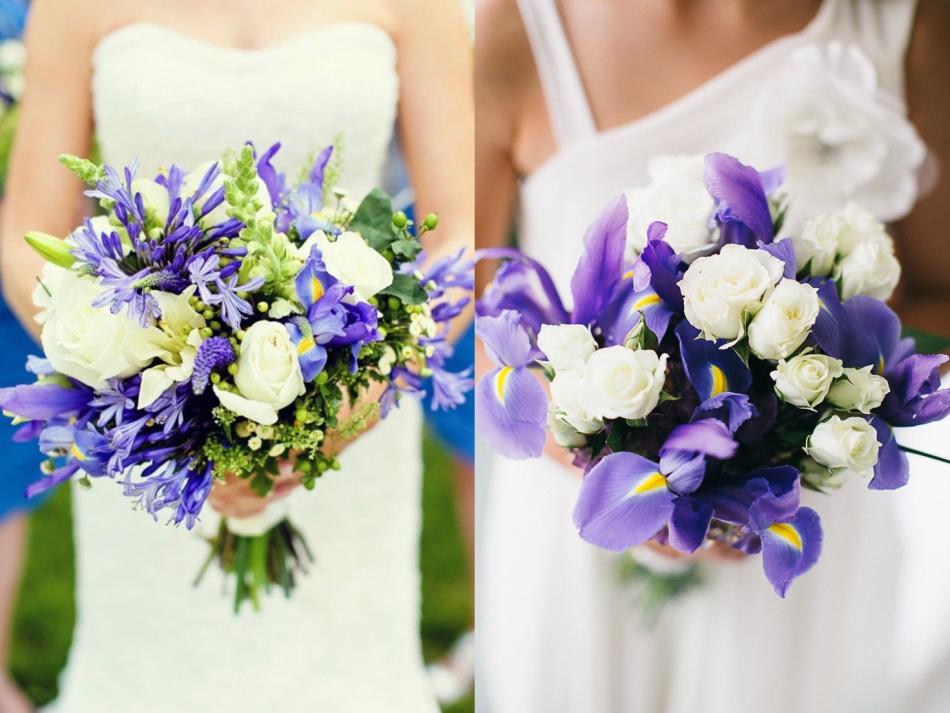 Букет невесты с белыми розами и ирисами, букет