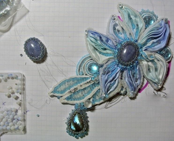 Еще один обработанный кабошон для ожерелья-шибори