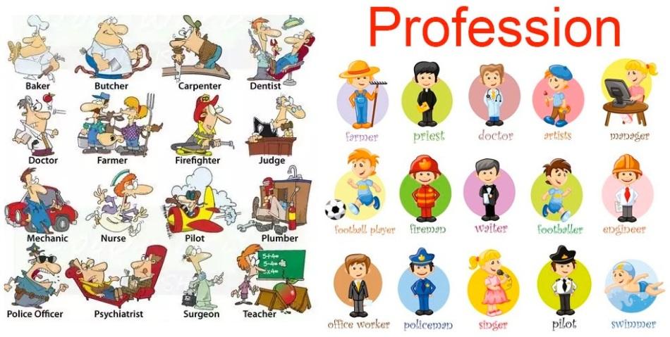 английский детям профессии картинки российского
