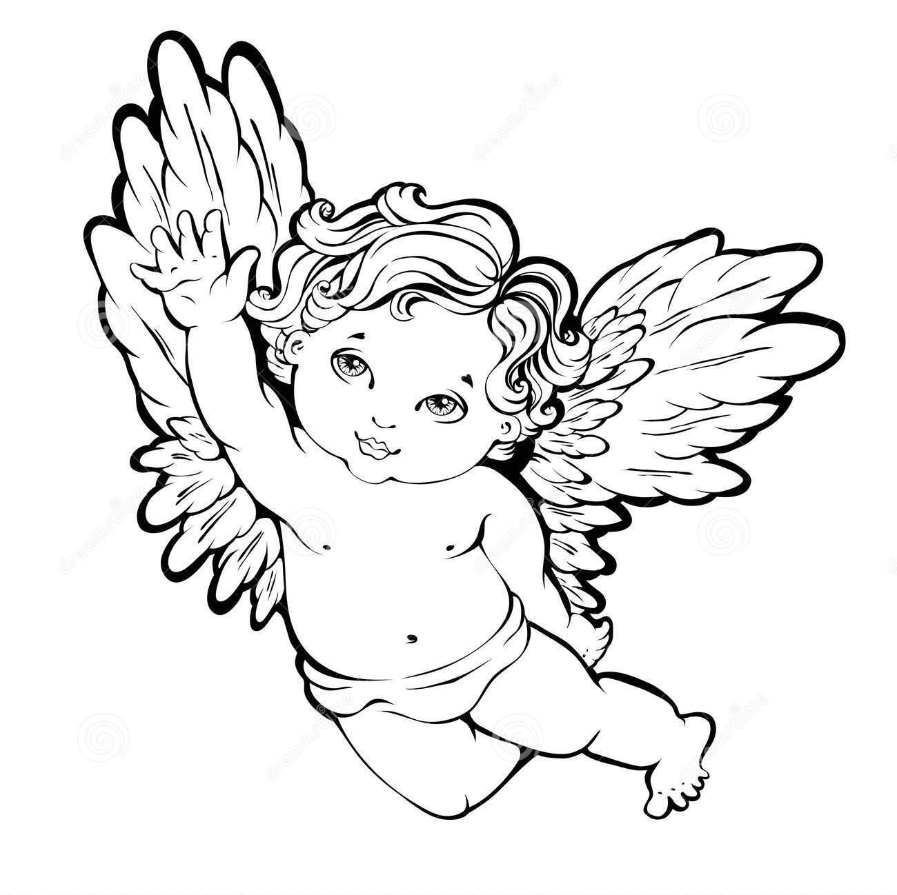 Шаблон ангелочка для рисования или вырезания, пример 1