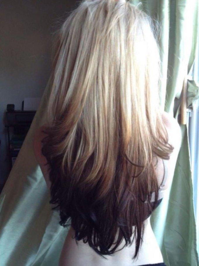 Пример темного омбре для блондинок