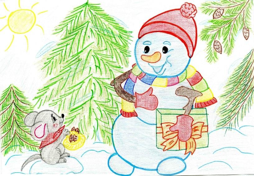 вот уже рисунок на тему зимушка-зима началось всё