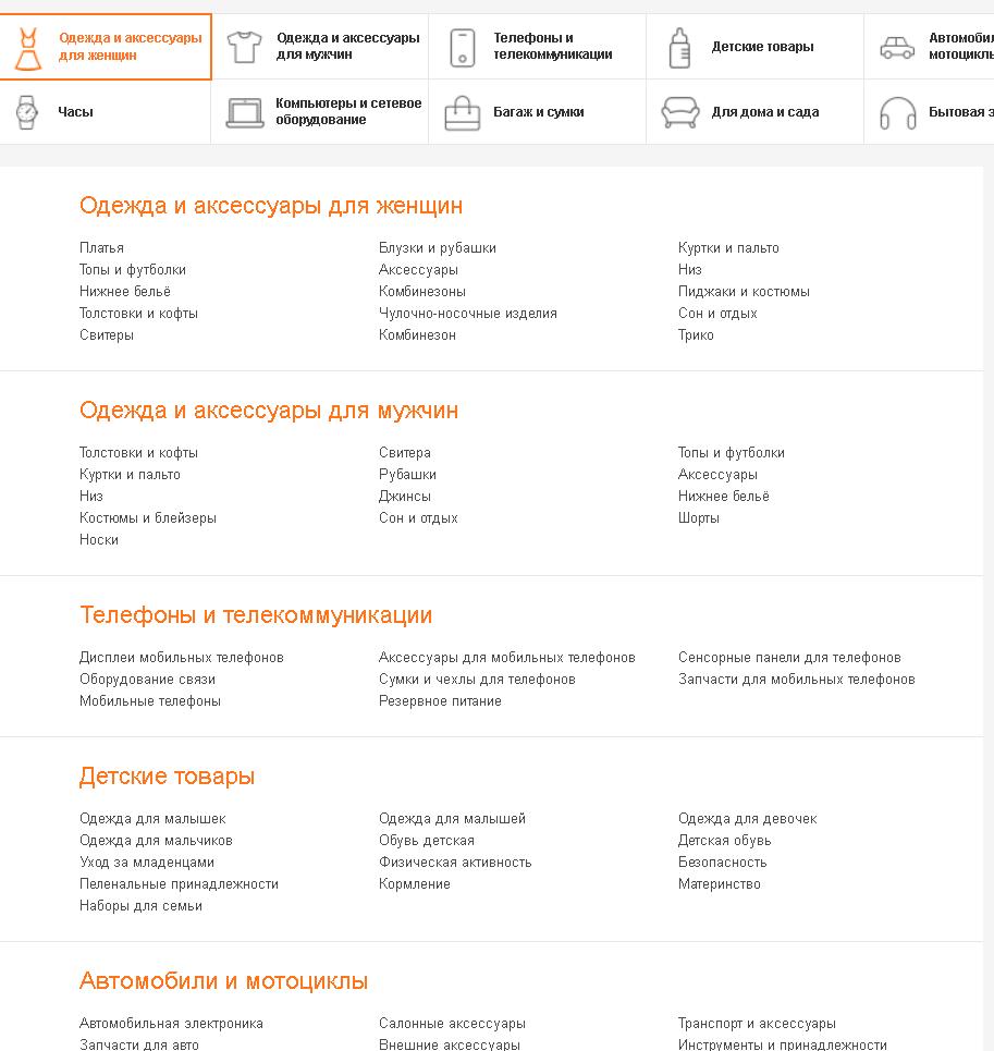 Неполный список категорий товаров сайта аликспресс