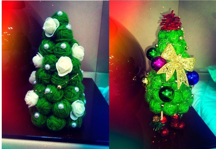 elochka-iz-klubkov-nitok Необычная елка своими руками для конкурса для детей в детский сад, школу и для взрослых, на корпоратив: идеи, схемы, описание, фото. Как креативно сделать и назвать поделку — новогоднюю елку на конкурс: идеи, схемы, шаблоны, примеры названий, фото || Необычная новогодняя елка из дерева
