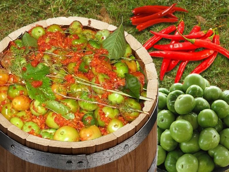 Необычный способ приготовления зеленых помидорок