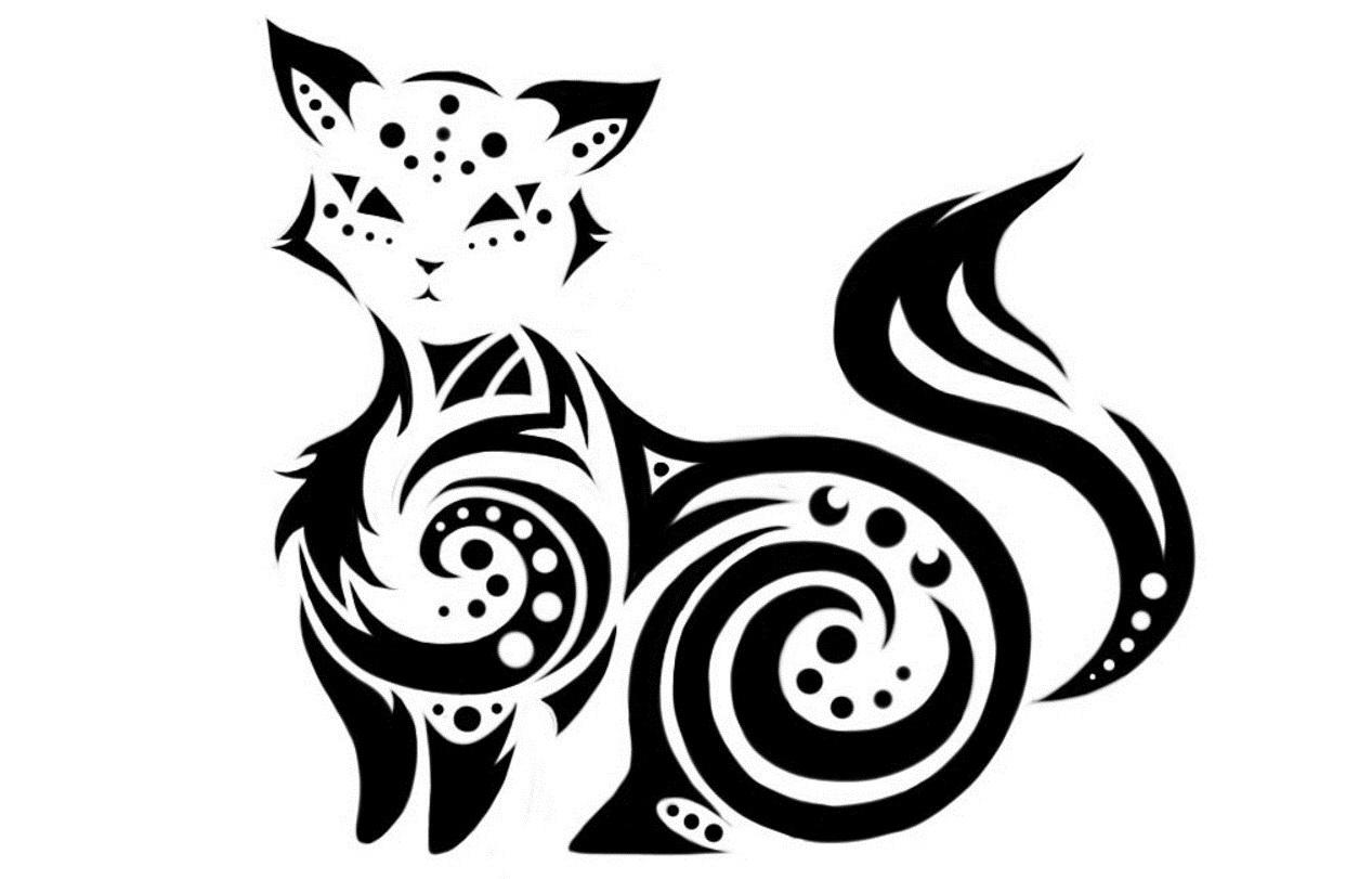 картинки тату кошки эскизы изготовлено флизелиновой основе