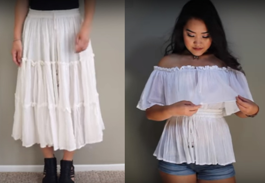 Как переделать юбку в кофточку