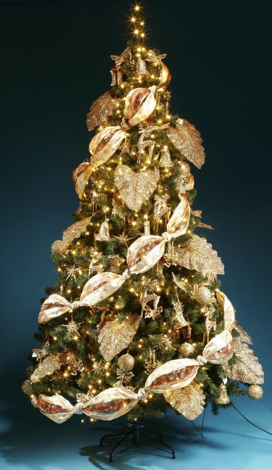 Красивая елка в одном золотом цвете: идеи