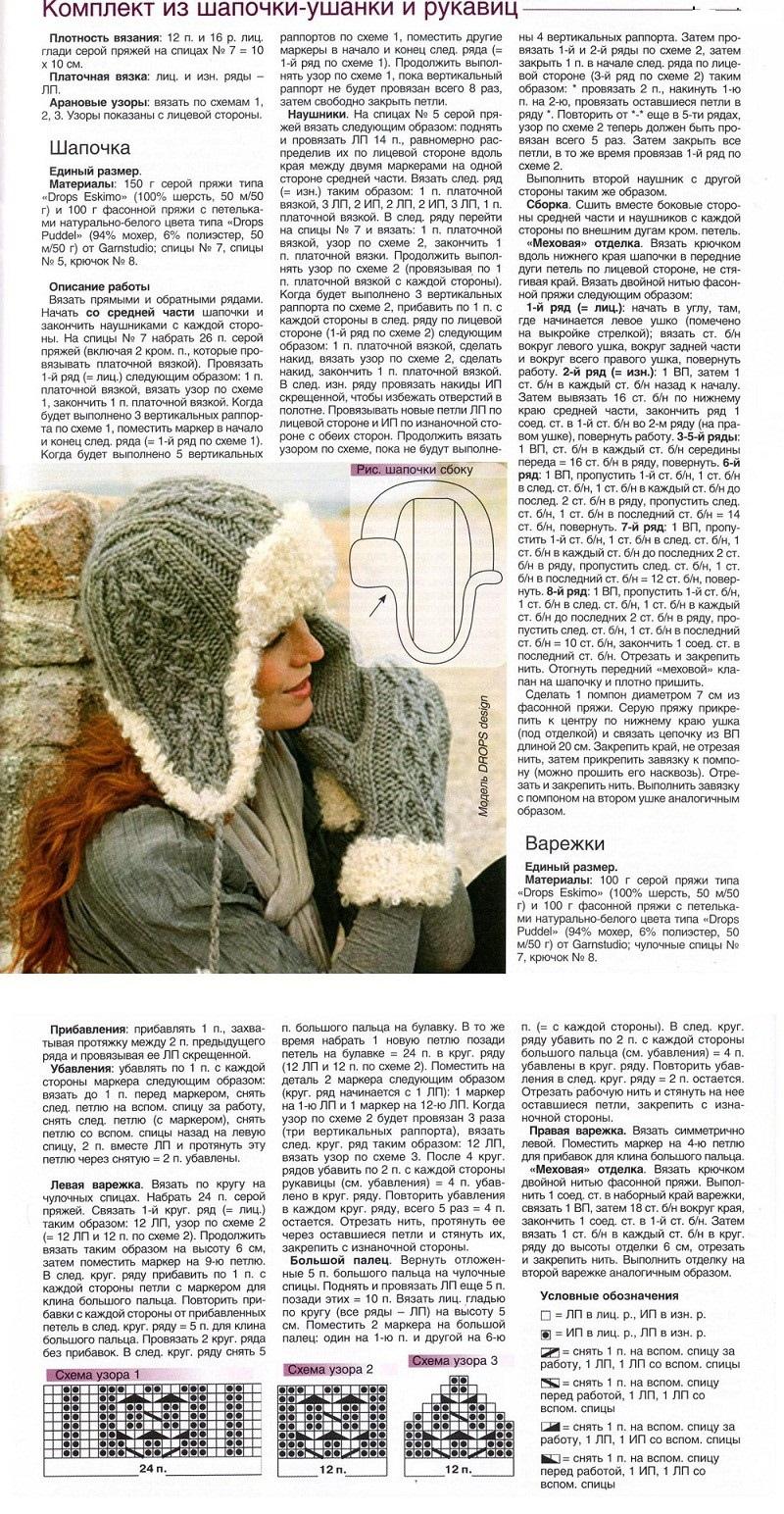 Описание вязания спицами шапки ушанки для девочки, пример 1