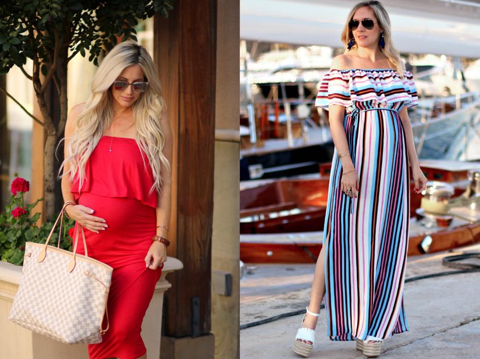 Платье с оборками на груди для беременных
