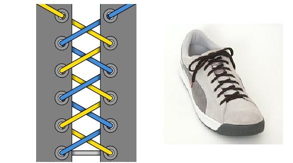 """""""зигзаг"""" - стандартный способ шнуровки обуви"""