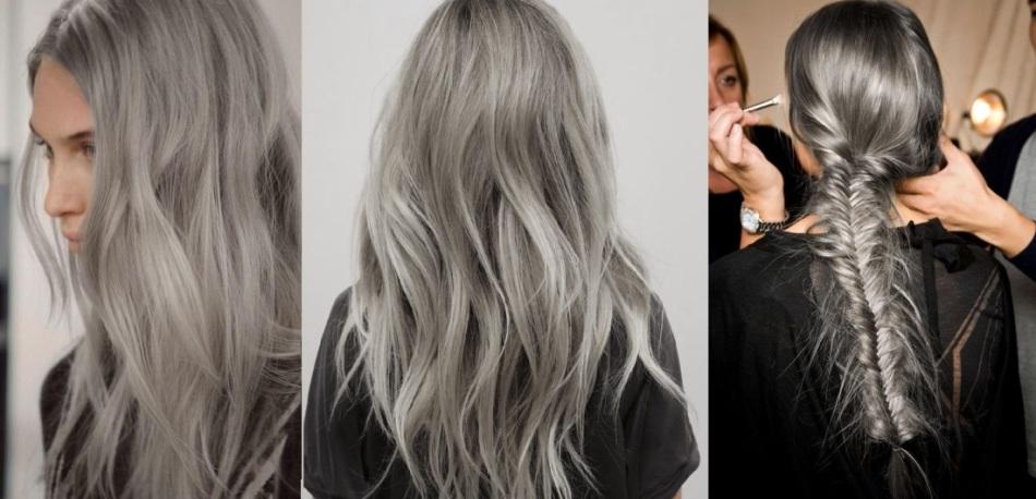 Волосы молодой девушки после окрашивания в пепельный тон