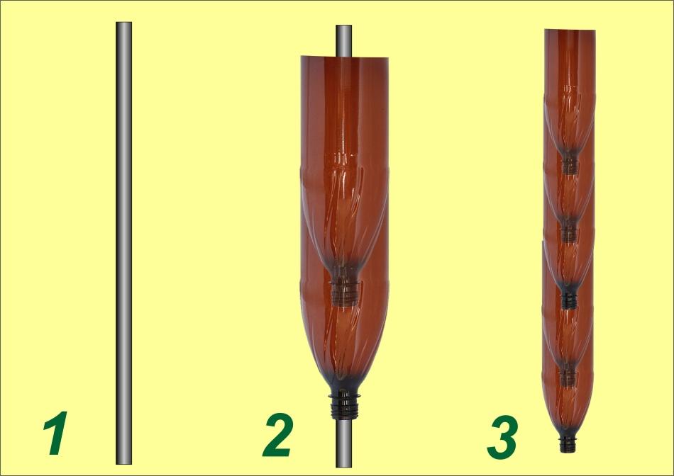 Схема создания ствола пальмы из пластиковых бутылок