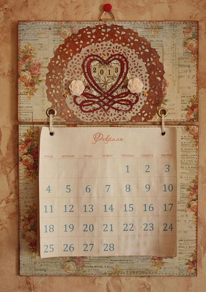 Как сделать календарь о открыткой, про цветы короткие